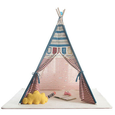 Kids Teepee Indoor Play Striped Tent Cotton Canvas Children Indian Playhouse HOT