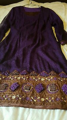 Indian asian shalwar kameez suit in purple and brown large