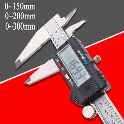 "Digital Vernier Caliper LCD Micrometer Electronic Gauge 150/200/300mm 6/8/12"" UK"