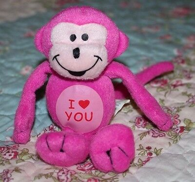"UPSIDE DOWN PAW 6"" Pink Monkey Plush Valentine I Heart You, Wire Tail to Hang"