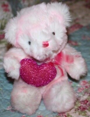 "7 1/2"" Light Pink Fuzzy Valentine Plush Bear holding Dark Pink Shiny Heart"