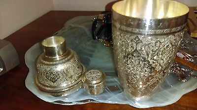 Vintage silver Persian hand engraved martini/cocktail shaker 441 grams