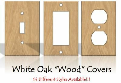 """White Oak """"Wood"""" Light Switch Covers Home Decor Outlet - MADE FROM PLASTIC"""