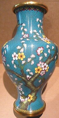 Magnificent Antique Blue Chinese Cloisonné Vase with Blossoms & Butterfly