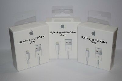3X OEM Original Apple iPhone 7 6 6s Plus 5s Lightning USB Charger Cable 2M 6FT