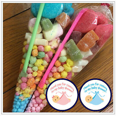 Personalised Pre Filled Sweet Cones Baby Shower Boy Girl Party Bags