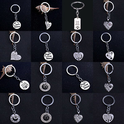 Dog Pet Paw Keyring Keychain Key Chain Charm Jewelry Compass Heart Love BFF Gift