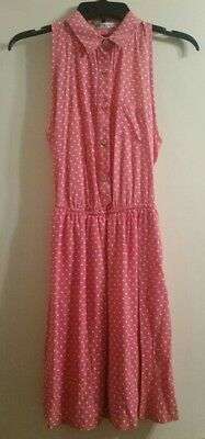 Juniors Pink Dress With White Polka Dots Size Small