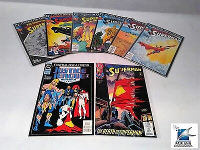 Superman Dc Funeral For A Friend Comic Books Death Of Superman Lot Of 8