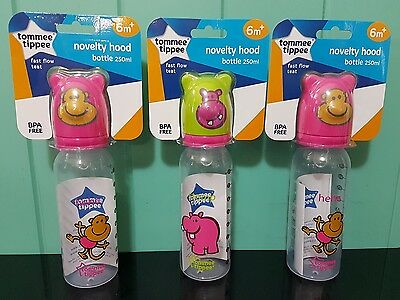 3 x Tommee Tippee Novelty Hood baby Bottles 250ml