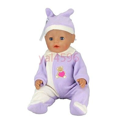 soft purple jumpsuit+hat Wearfor 43cm Baby Born zapf (only sell clothes )