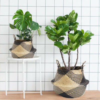 36cm Black & White Natural Seagrass Belly Basket Straw Planter Toy Laundry Bag