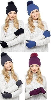 Ladies Hat and Touch Screen Gloves Winter Accessory Set Bobble Pom Gift Knitted