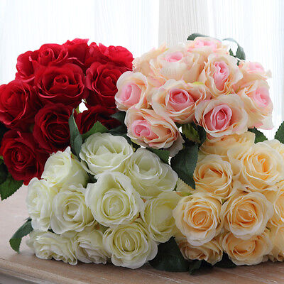 Beauty Artificial Silk Rose Bridal Bouquet 10 Flower Heads Home Wedding Decor