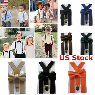 Cute Kids Boys Girls Elastic Y-Shape Braces Adjustable Clip On Suspender Bow Tie