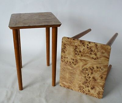 Vintage Retro 60s/70s PAIR OF OCCASIONAL/SIDE TABLES Laminate/Veneer Top EAMES