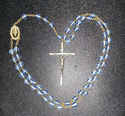 Antique Vintage INRI Rosary Glass Clear Blue Beads Crucifix Cross Necklace