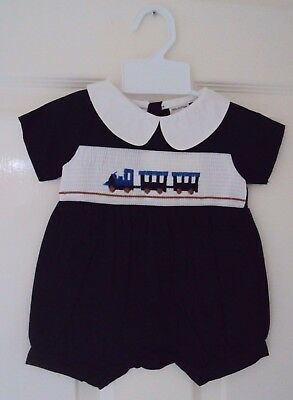 Baby Boy Navy Blue Smocked Train Traditional Romper Newborn 3 6 9 12 18 24 Month