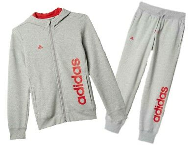 adidas girls grey zip up hooded tracksuit. 3-4 years