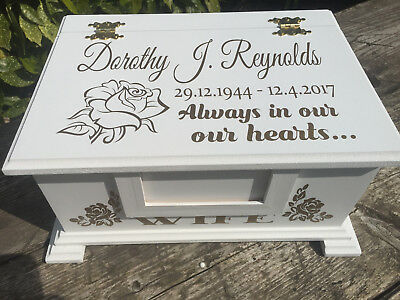 Personalised Casket / Memorial box for Ashes / Keepsakes with photo frame