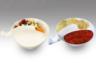 Med White Anti-Soggy Cereal Bowl With Ergonomics Handle Design and Grip