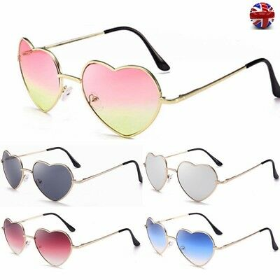 Ladies Heart Shape Make Up Makeup Glasses Sunglasses Metal Frame Eyewear UK