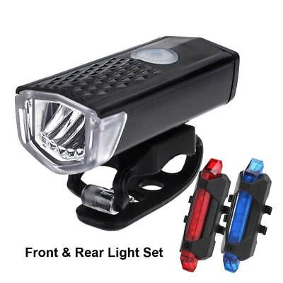 USB Rechargeable Mountain Bike Bicycle LED Head Front Light & Rear Tail Lamp Set