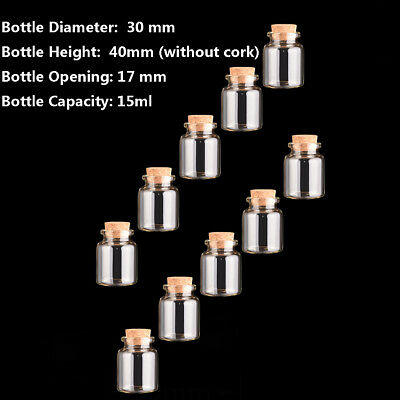 20pcs 30mm 15ml Glass with Corks Bottle Transparent Multi-Purpose Mini Empty Jar