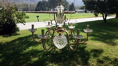"Beautiful VTG Polished Brass & Crystal Chandelier 24"" Tall x 29"" Wide 5' 1"" Drop"
