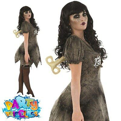 Adult Wind Up Deadly Doll Costume Ladies Halloween Fancy Dress + Key Clockwork