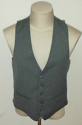 "Vintage Gray Sears Two Pocket 5 Button Up Waistcoat Vest 40"" Chest"