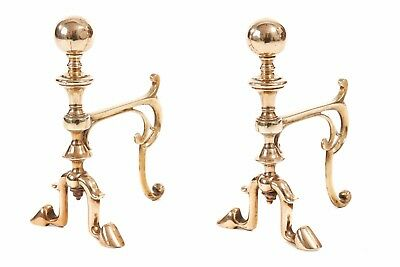 Pair of Victorian Brass Fire Dogs