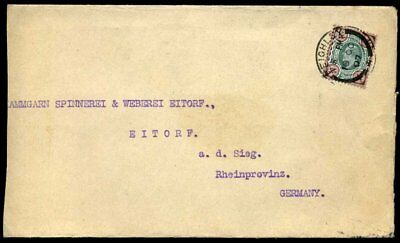 1907 KEVII SG236a 4d Green & Brown (M24) Keighley to Germany