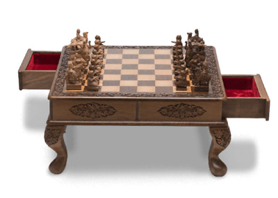 Royal Wooden Chess Set - Walnut Wood Carving, India - Shipping via DHL or FedEx!