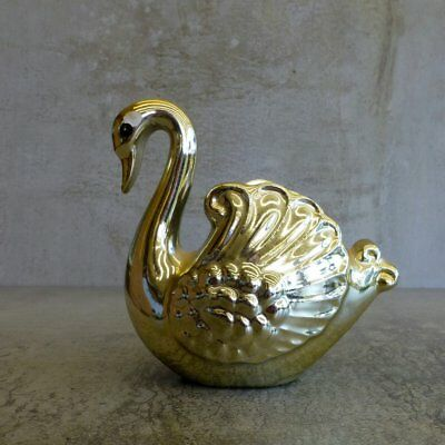 Vintage Small Gold Swan Ceramic Planter Vase Bowl Kitsch Elegant Waterbird