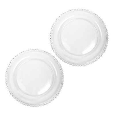 Set of 2 Bella Perle Beaded Edge Clear Glass Dinner Plate Exclusive To Dibor