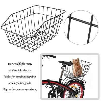 Large Bike Basket Rear Steel Mesh Wire Fixed Mounting Carrier Rack Fitting Black