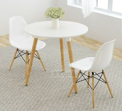 JL Eames Style Round White Dining Table Wood Legs For Kitchen Dining Room Cafe