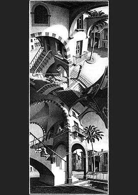 M C Escher hands drawing print canvas giclee 8X12/&12X17 poster art reproduction