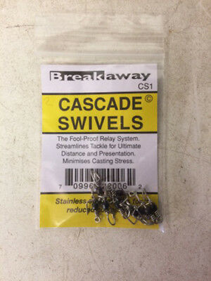 Breakaway Cascade Swivels - clip down rigs, sea fishing - 10's