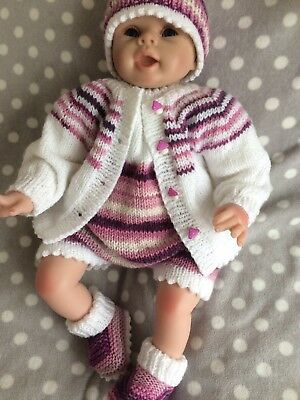 "Hand Knitted 4 Piece Romper Set 0/3m Or 19/22"" Reborn Doll"
