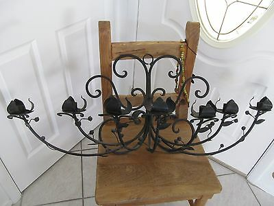 Vintage Iron Metal Flower Wall Sconce Candle Holder French Style Mid Century Art