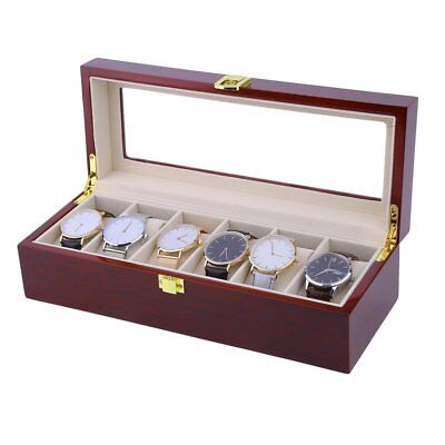 Wooden Watch Box Glass Screen Case Storage Display Jewelery Gift Organiser Mens