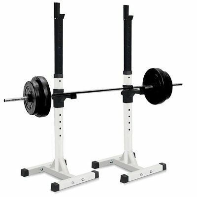 2Pcs Adjustable Exercise Squat Bench Set Stand Rack Olympic Weights Standing UK