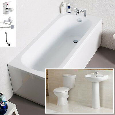 Cheap Bathroom Suite Bath 1700mm Inc Toilet, Basin, Front Panel, Bath Filler Tap