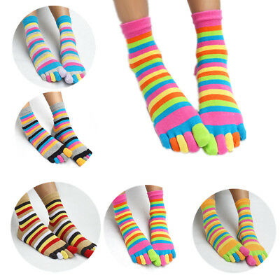 Women's Girl Colorful Striped Five Finger Toe Socks-GSM Fashion Rainbow Socks