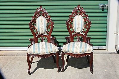 Supreme Pair of Laminated Walnut Victorian Rococo Chairs w Heavily Carved Backs