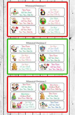 Personalized Adorable CHRISTMAS Return Address Labels, 30 labels per sheet