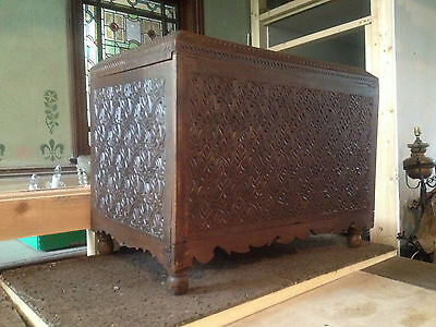 Spanish Moorish Coffer carved anglo indian chest Victorian 19th century