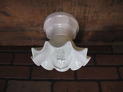 Vintage Industrial Subway Tile Porcelain Flush Mount Ceiling Bathroom Light A